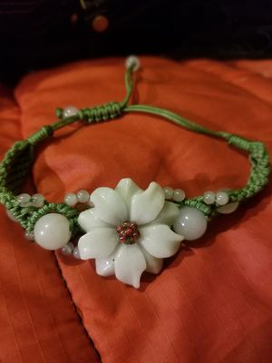 "Jadeite Jade ""Chrysanthemum"" Carved Flower Adjustable Bracelet for Sale in Thornton, CO"