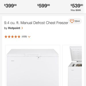 Brand New In Unopened Hotpoint By GE 9.4 Cu Ft. Cu Ft Freezer. $280 Picked Up.$310 DELIVERED INSTALLED. 1 year Manufacturers Warranty for Sale in Newport News, VA