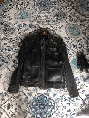Harley Davidson leather jacket 3X with riding gloves and auto tint glasses for Sale in Naperville, IL