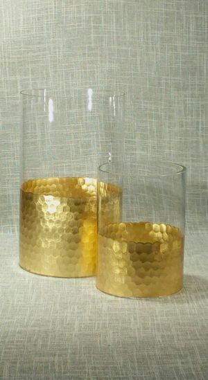 """2pc. Set Gold Glass Vases or Candleholders 9""""x6"""" & 6""""x4"""" *PICKUP ONLY* home decor, household for Sale in Mesa, AZ"""