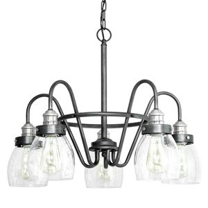 5-Light Rustic Pewter Chandelier with Brushed Nickel Accents and Clear Seeded Glass. Brand New! for Sale in Plantation, FL