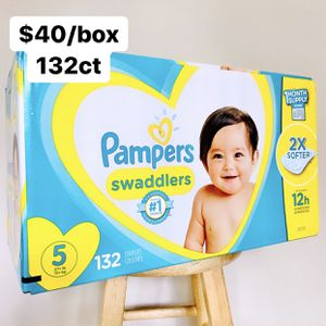 Size 5 (27+ lbs) Pampers Swaddlers (132 baby diapers) *PROMO* BUY ANY 2 PAMPERS BRAND BIG BOXES, GET 1 FREE HUGGIES TUB 64ct for Sale in Anaheim, CA