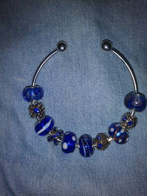 Handmade Blue and Silver Cuff Bracelet for Sale in Detroit, MI