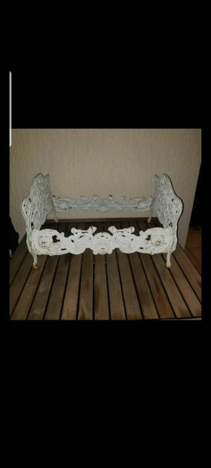 Antique Gilt Cast Iron Doll Bed Vintage Metal Toy Furniture incorporating Lions, Bears, Trumpeters, Green Men, Birds, Shells for Sale in Miami, FL