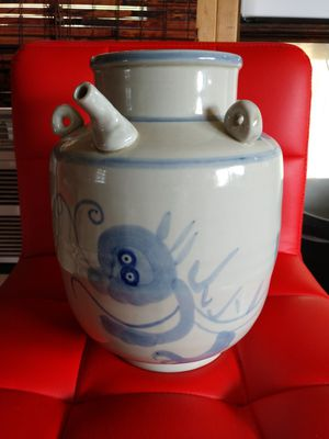 Asian blue and white vessel jar for Sale in Jacksonville, TX