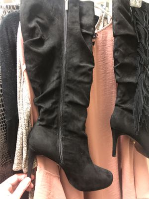 Black leather women's size 11 boots with fringe for Sale in Littleton, CO