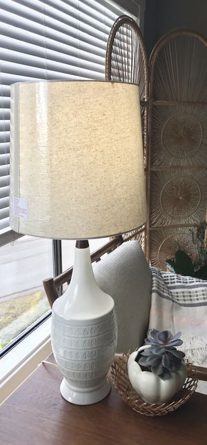 Large Vintage Mid-Century 1960s Boho Ceramic Lamps with Lamp Shades - Please read entire description for Sale in Maple Valley, WA