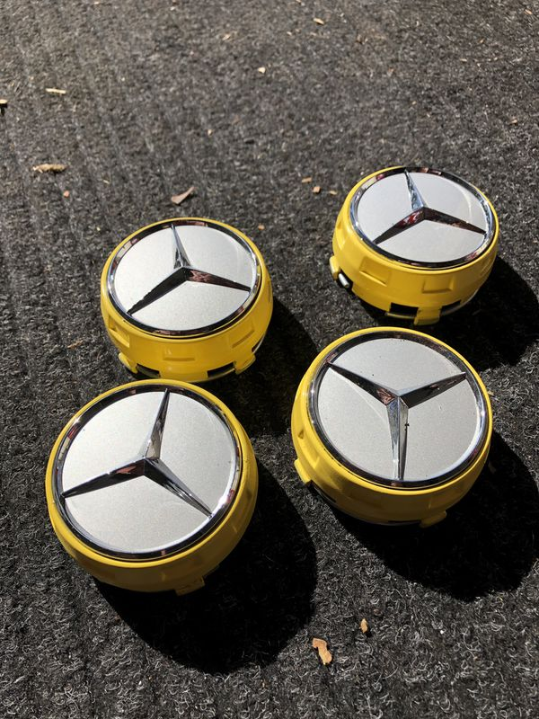 MERCEDES BENZ AMG WHEEL RAISED CENTER CAPS NEW CONDITION MUST GO ASAP !!!!!!!