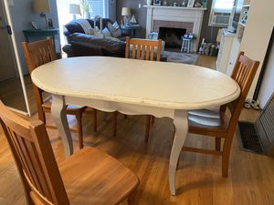 Antique white with grey legs shabby chic table with 4 wood chairs for Sale in Fullerton, CA