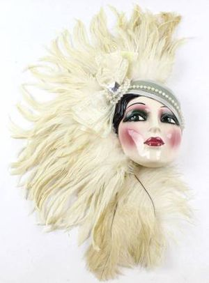 Clay Art Ceramic Face Wall Mask, Decorative Feathered Wall Decor for Sale in New Port Richey, FL