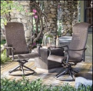 Coral Coast Wimberley Padded Sling Swivel/Rocker Dining Chairs with coffee table - Set of 3 with coffee table for Sale in Springfield, VA
