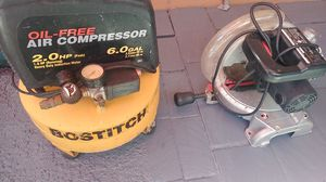 Air Compressor, electric Saw,in good condition $100. for Sale in San Jose, CA