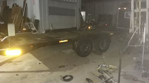 16 x 8 tandem axle All Steel heavy duty trailer is 20 ft long and total from the tongue to the very back for Sale in North Richland Hills, TX