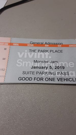 4 monster jam VIP suite tickets an parking pass for Sale in Salt Lake City, UT
