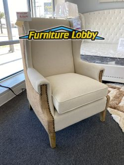 Beige Accent Chair with high back and nailheads H for Sale in Irving,  TX