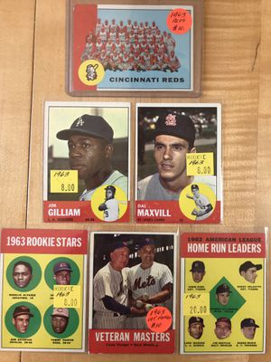 1963 TOPPS BASEBALL CARDS (6) STARS, ROOKIE +++ for Sale in Lafayette, CA