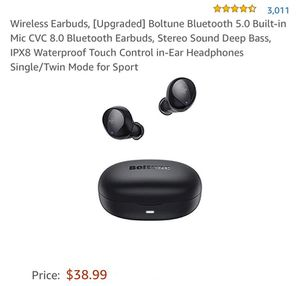 🎧 Wireless Earbuds, [Upgraded] Boltune Bluetooth 5.0 Built-in Mic CVC 8.0 Bluetooth Earbuds, Stereo Sound Deep Bass, IPX8 Waterproof Touch Control in for Sale in Modesto, CA