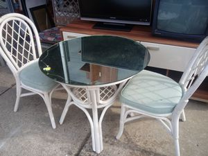 2 Wicker Chairs. & Mirror Glass top Table for Sale in Willingboro, NJ