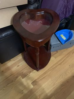 Awesome Heart shaped small table end table/night stand with storage/glass display with felt BEAUTIFUL! for Sale in Farmington Hills,  MI