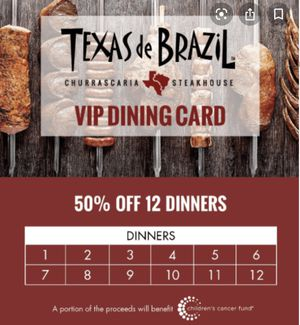 Texas de Brazil churrascaria steakhouse VIP card $300 value for Sale in Lacey, WA
