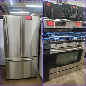 Samsung 2pc : 36in French Door Fridge & Gas Stove Stainless Steel Working Perfectly Four Months Warranty for Sale in Baltimore, MD