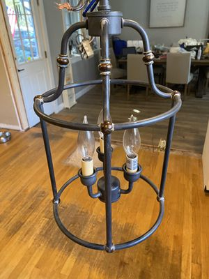 Hanging chandelier lamp - black wrought iron for Sale in North Andover, MA