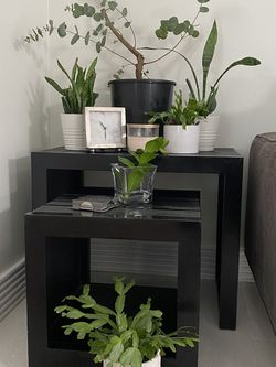 Black Real Bamboo Wood Nesting Tables. for Sale in Lacey,  WA