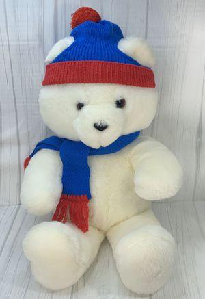 "Vintage Plush Dakin Teddy Bear White Sitting Stuffed Animal 22"" w/ Hat & Scarf for Sale in Bentonville, AR"