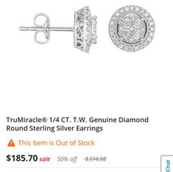 Trumiracle 1/4 CT. T.W. genuine Diamind Round Sterling Silver Earrings for Sale in Louisville,  KY