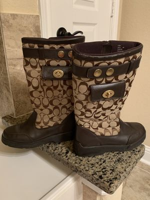 """coach """"kayla"""" signature chocolate brown leather boots - women's size 6 for Sale in Spring, TX"""