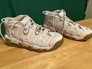 Nike Uptempo All White Gum Bottom (Size 9.5) Barely Worn for Sale in Columbia, MO