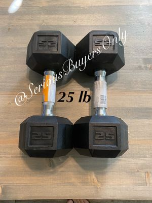 Pair of 25 lb dumbbell weights (gym and exercise equipment fitness) for Sale in Fontana, CA