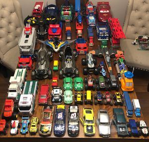 Toys cars cars and more cars 60 plus vehicle Batman, spider man DC Marvel monster trucks transformers Star Wars Ninja Turtles Pixar cars for Sale in Chula Vista, CA