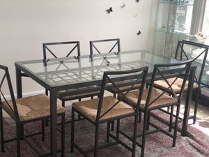 Glass Dining Room Table & Chairs (6) for Sale in Chevy Chase, DC