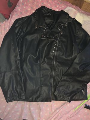 Black Studded Pleather Motorcycle Jacket for Sale in Los Angeles, CA