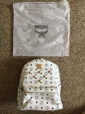 White MCM Stark Side Studs Backpack in Visetos for Sale in Kannapolis, NC