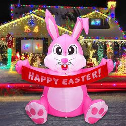 5 Ft Easter Inflatable Bunny with Banner Yard Decoration LED Light Home Inflatable Outdoor Lawn Garden Holiday Yard Decorations for Sale in Tulsa,  OK