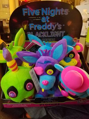 Five nights at Freddys blacklight 8 inch plush set for Sale in Las Vegas, NV