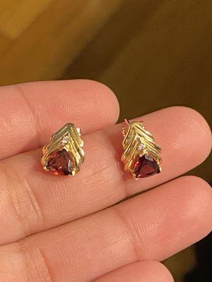 10k gold garnet and diamonds earrings for Sale in Quincy, MA
