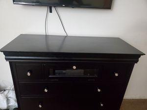 Glass coffee table, black media console, brown miranda sofa $600 obo for Sale in Temecula, CA