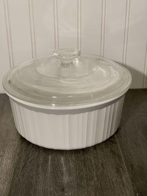 Round Ridged White Corningware Casserole Dish for Sale in Spanaway, WA