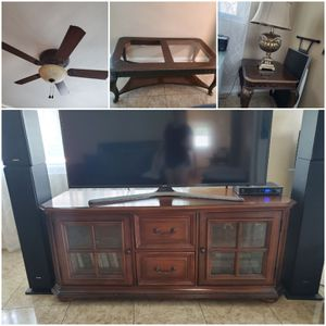 Ceiling fan,living room tables and tv stand for Sale in Winter Haven, FL