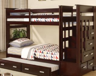 Staircase Bunk Bed With Trundle Unit And Storage Drawers for Sale in Richmond,  TX