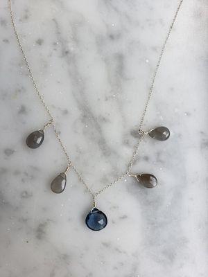 Sterling Silver Moonstone and London Blue Quartz Briolette Necklace for Sale in Fort Lauderdale, FL