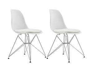 DHP Mid Century Modern Chairs w/ Eiffel Metal Legs, White (New, Set of 2) for Sale in Washington, DC