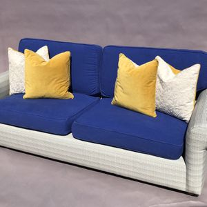 Modern Contemporary Sofa Couch w blue cushions Yellow Accent Pillows for Sale in Whittier, CA