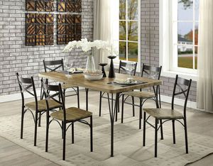 7-Piece Dining Room Set, Gray AND Dark Bronze Finish for Sale in Santa Ana, CA