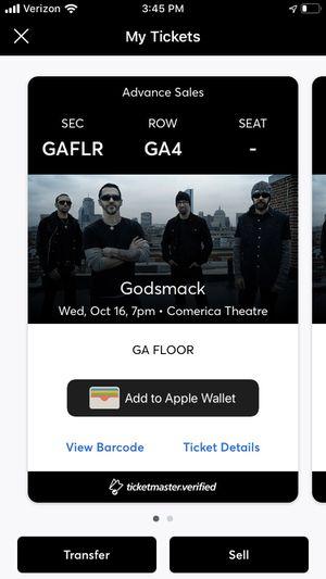 Godsmack Floor Tickets for Sale in Tempe, AZ