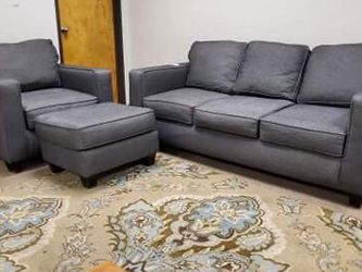 Grey Modern Couch And Chair With Ottoman Set for Sale in Denver,  CO