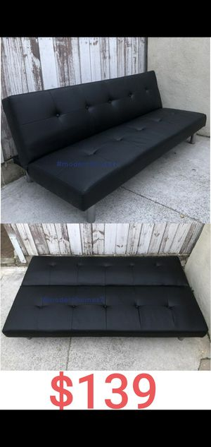 Black leather sofa bed sleeper couch futon for Sale in Cerritos, CA